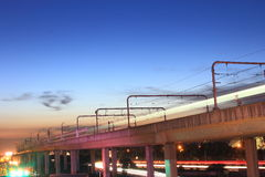 Ноча, светлый рельс Стоковое Изображение RF
