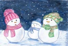 Ноча семьи снеговика Стоковое Изображение RF
