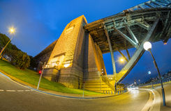 ноча Сидней гавани моста Австралии Стоковые Фотографии RF