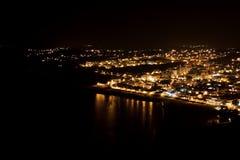 Ноча сняла пляж da Luz Прая на ноче Стоковые Изображения