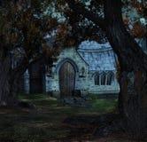 ноча спрятанная церковью Стоковое Изображение