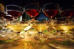 ноча стекел шампанского стоковые фотографии rf