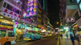 Ноча улицы рынка timelapse Гонконга сток-видео