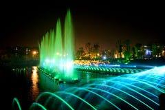 Ноча фонтана музыки лазера Стоковое Изображение