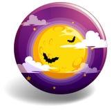 Ноча хеллоуина на круглом значке Стоковое Изображение