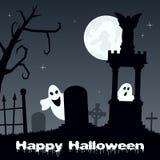 Ноча хеллоуина - страшное кладбище & призраки стоковая фотография
