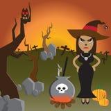Ноча хеллоуина с ведьмой в черном и волшебном баке Стоковое фото RF