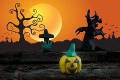Ноча хеллоуина с пластилином на предпосылке луны Стоковые Фото