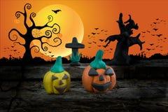 Ноча хеллоуина с пластилином на предпосылке луны Стоковые Фотографии RF