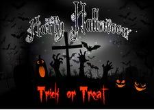 Ноча хеллоуина с тыквами и летучими мышами на погосте Стоковые Изображения RF