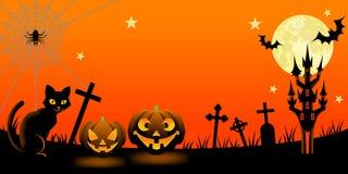 Ноча хеллоуина с черным котом Стоковое Изображение RF