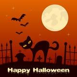Ноча хеллоуина - черный кот в кладбище Стоковые Изображения
