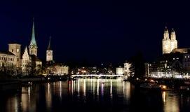 Ноча Цюриха Стоковая Фотография RF