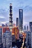 Ноча Шанхая стоковое изображение