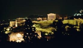 ноча athens акрополя Стоковая Фотография