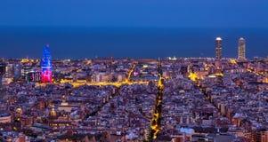 ноча barcelona стоковые изображения rf