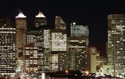 ноча calgary Канады городская Стоковые Фотографии RF