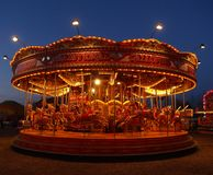 ноча fairground carousel Стоковые Фото