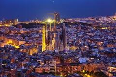 Ноча familia Sagrada стоковые фотографии rf