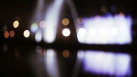 Ноча fontains Bokehs акции видеоматериалы