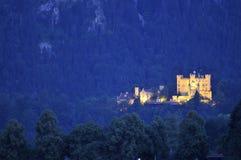 ноча hohenschwangau замока Стоковое Фото