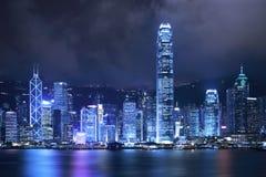 ноча Hong Kong города Стоковые Фотографии RF