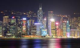 ноча Hong Kong города Стоковые Изображения RF