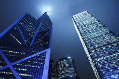 ноча Hong Kong финансового района Стоковое Изображение