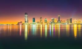 Ноча Jersey City, Гудзон Стоковое Изображение