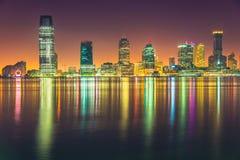 Ноча Jersey City, Гудзон Стоковые Фотографии RF