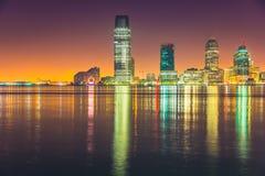 Ноча Jersey City, Гудзон Стоковые Изображения