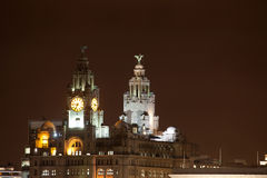 ноча liverpool городского пейзажа стоковые фото