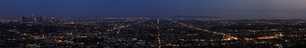 Ноча Los Angeles - панорама стоковые фотографии rf