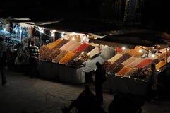 ноча marrakesh fna el djemaa Стоковое фото RF