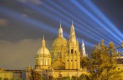 ноча palau nacional barcelona стоковая фотография