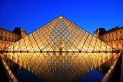 ноча paris музея жалюзи Стоковая Фотография RF