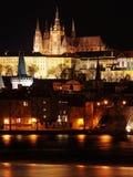 ноча prague замока цветастая готская Стоковое Фото