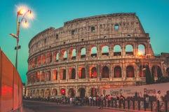 ноча rome Италии colosseum Стоковая Фотография