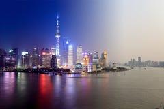 ноча shanghai дня к Стоковое Изображение