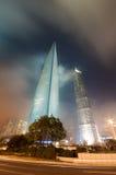 ноча shanghai зданий Стоковая Фотография