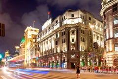 ноча shanghai bund Стоковое Фото