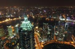 ноча shanghai megacity Стоковые Изображения RF