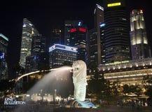ноча singapore городского пейзажа Стоковое Фото