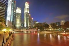 ноча singapore cbd Стоковое Изображение