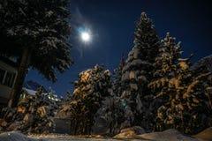 Ноча Snowy в Andermatt, Швейцарии Стоковое Фото