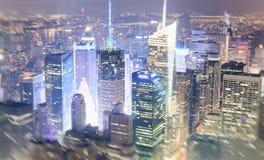 ноча york города новая Вид с воздуха светов Манхаттана, США Стоковые Фотографии RF