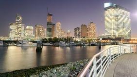 ноча york города новая Вид с воздуха светов Манхаттана, США Стоковое Изображение
