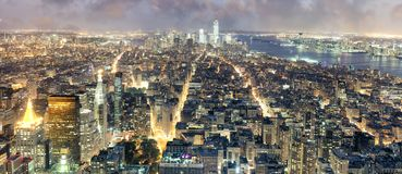 ноча york города новая Вид с воздуха светов Манхаттана, США Стоковое Изображение RF