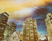 ноча york города новая Вид с воздуха светов Манхаттана, США Стоковая Фотография