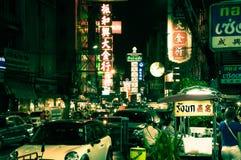 Ночная жизнь в Bagkok Чайна-тауне Стоковые Фотографии RF